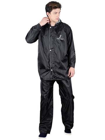 Fabseasons Apex Black Reversible Unisex Raincoat with Hood and Reflector