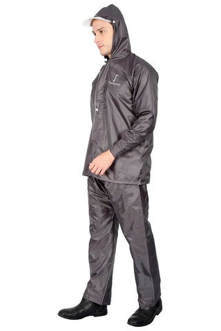 Fabseasons Apex Grey Reversible Unisex Raincoat with Hood and Reflector