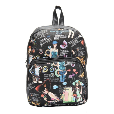 FabSeasons Black Anime Digital Printed Small Size Backpack
