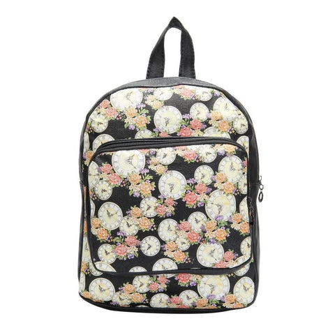 FabSeasons Black Flower Digital Printed Small Size Backpack