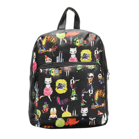 FabSeasons Black Animals Digital Printed Small Size Backpack