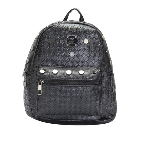 FabSeasons Black Small Size Studded Faux Leather Backpack