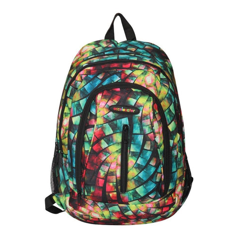 FabSeasons Green with Multicolor Polyester Graphic Printed Backpack