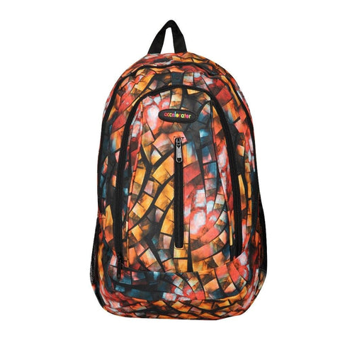 FabSeasons Orange with Multicolor Polyester Graphic Printed Backpack