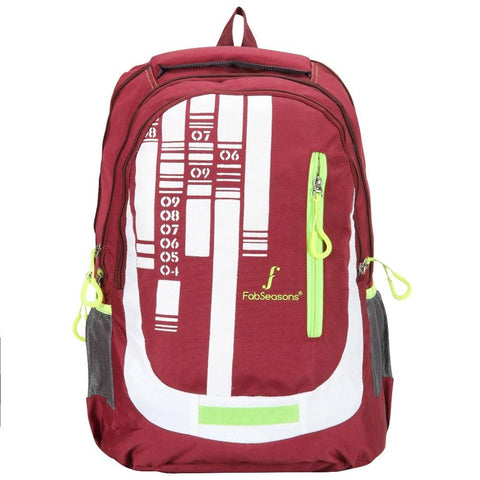 FabSeasons Maroon Numerical Backpack Bag with Raincover