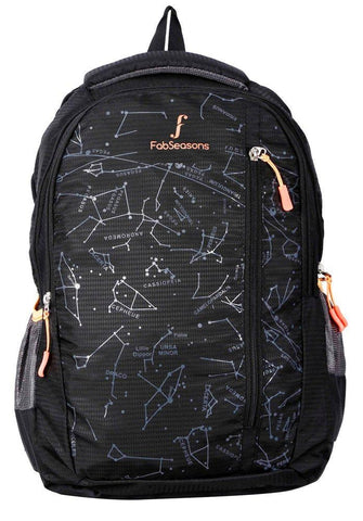 FabSeasons Printed Space Black Backpack for Multipurpose use