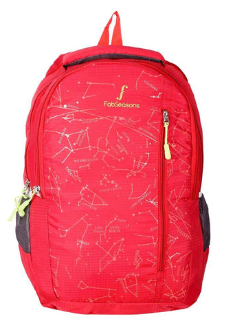 FabSeasons Printed Space Red Backpack for Multipurpose use