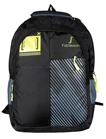 FabSeasons Printed Black Backpack with Raincover and Laptop holder