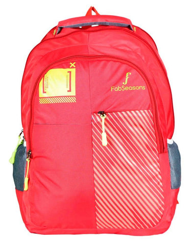 FabSeasons Printed Red Backpack with Raincover and Laptop holder