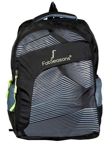 FabSeasons Black Printed Stripes Backpack Bag