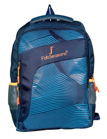 FabSeasons Blue Printed Stripes Backpack Bag