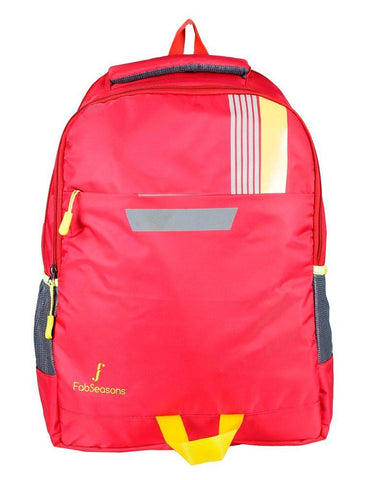 FabSeasons Printed Red Backpack Bag with reflector patch