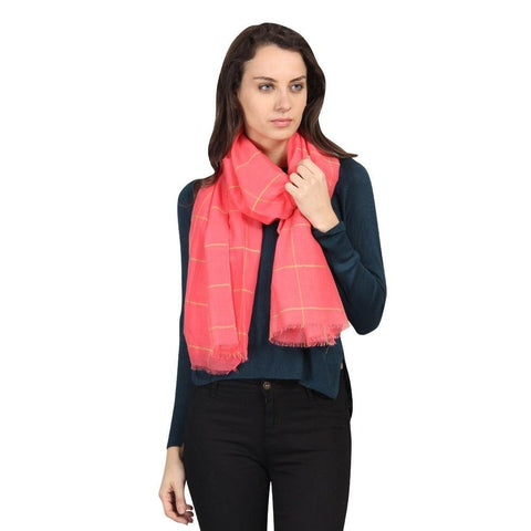 FabSeasons Unisex Pink Chexs Cotton Scarf