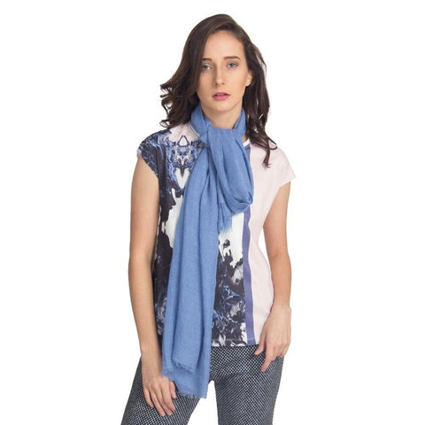 FabSeasons Blue Solid Cotton Unisex Scarfs