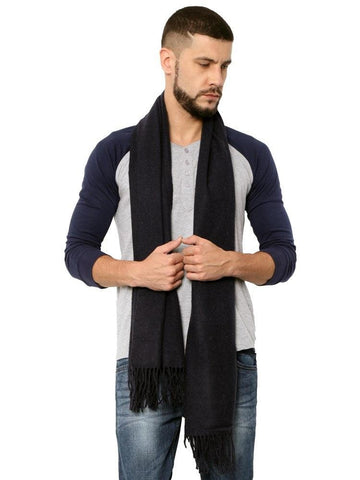 FabSeasons Solid Navy Blue Woolen Winter cashmere Scarf