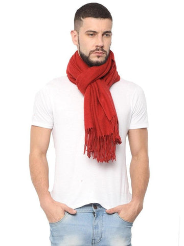 FabSeasons Solid Orange Woolen Winter cashmere Scarf