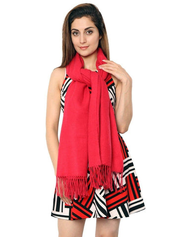 FabSeasons Pink Solid Woolen Winter cashmere Scarf