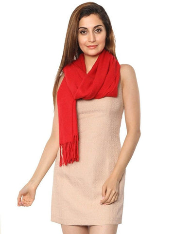 FabSeasons Solid Red Woolen Winter cashmere Scarf