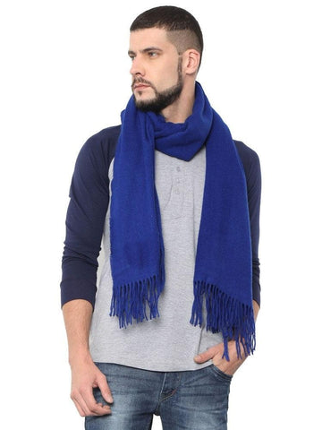 FabSeasons Solid Royal Blue Woolen Winter cashmere Scarf