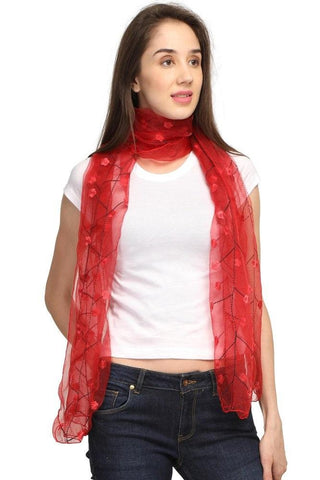 FabSeasons Solid Red Viscose Stylish Scarf