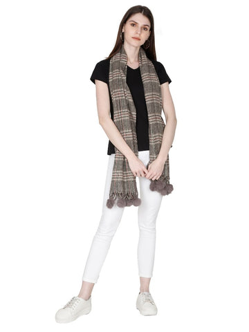 FabSeasons Brown Beign Unisex Checkered Woolen Scarf, Muffler, Shawl and Stole