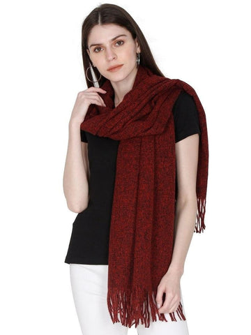 FabSeasons Maroon Unisex Woolen Scarf, Muffler, Shawl and Stole for Winters