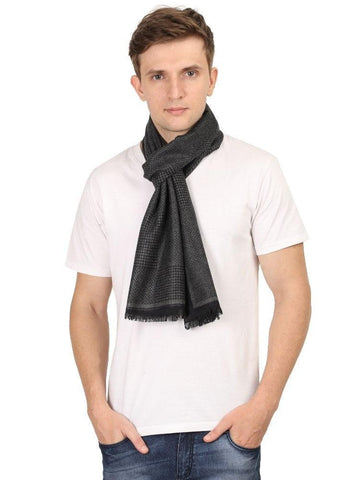 FabSeasons Black Men's Casual Checkered Acrylic Woolen Muffler, Scarf