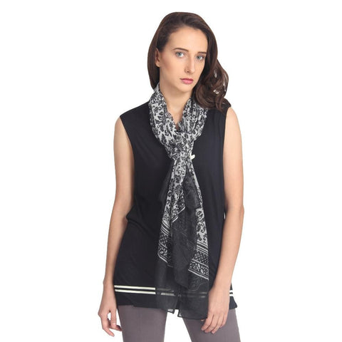 FabSeasons Cotton Black Blossom Printed Scarf