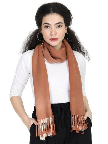 FabSeasons Brown Beign Solid Dual Tone - Double Color Cotton Unisex Scarf
