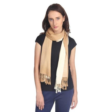 FabSeasons Brown Cream Solid Dual Tone - Double Color Cotton Unisex Scarf
