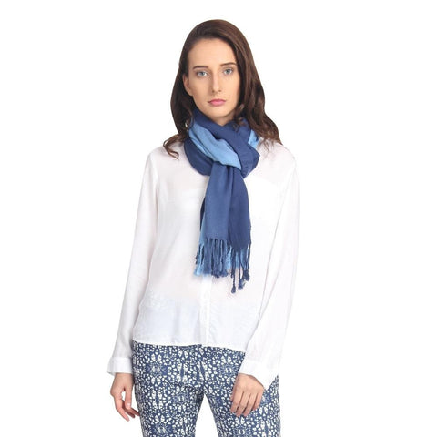 FabSeasons Navy Blue Solid Dual Tone - Double Color Cotton Unisex Scarf