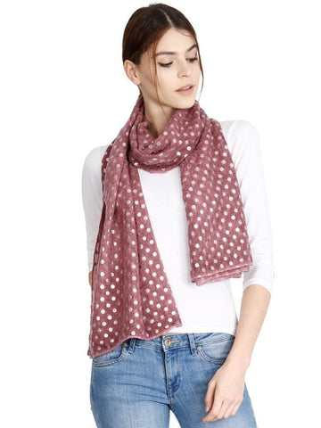 FabSeasons Casual Maroon Cotton Solid Scarf with Printed Silver Polka Dots