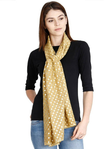 FabSeasons Casual Mustard Cotton Solid Scarf with Printed Silver Polka Dots