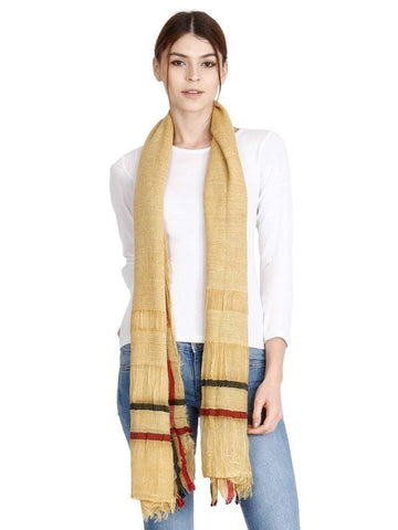 FabSeasons Casual Cotton-Rayon Mustard Scarf