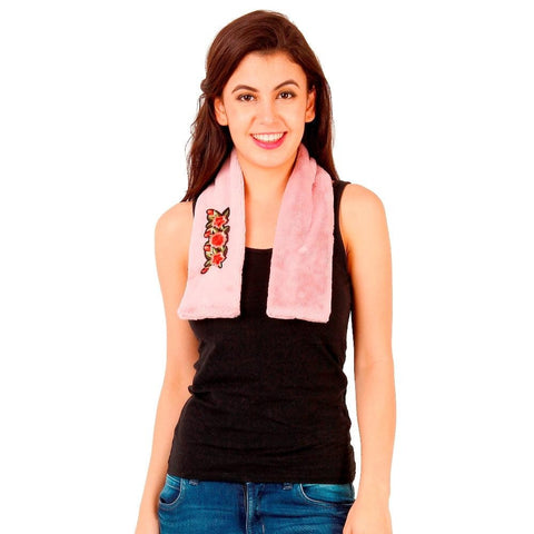FabSeasons Pink Faux Fur Winter Fashion Neck Warmer and Scarf