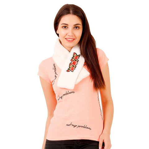 FabSeasons White Faux Fur Winter Fashion Neck Warmer and Scarf