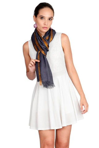 FabSeasons Cotton Grey Viscose Self Checkered Design Super Soft & Stylish Scarf
