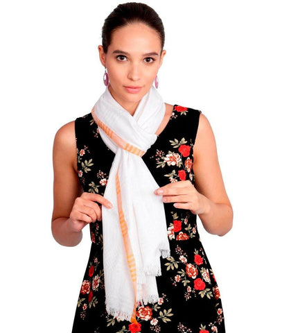 FabSeasons Cotton White Viscose Self Checkered Design Super Soft & Stylish Scarf