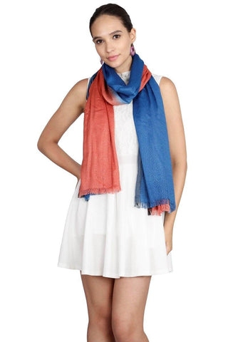FabSeasons Cotton Viscose Double Colored and Self Designed Super Soft & Stylish Scarf
