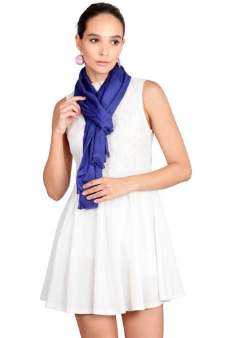 FabSeasons Blue Cotton Viscose Solid - Plain Super Soft & Stylish Scarf