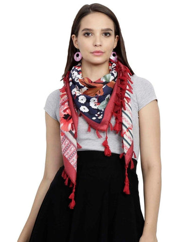 FabSeasons Red Cotton Floral Printed Soft & Stylish Square Scarf