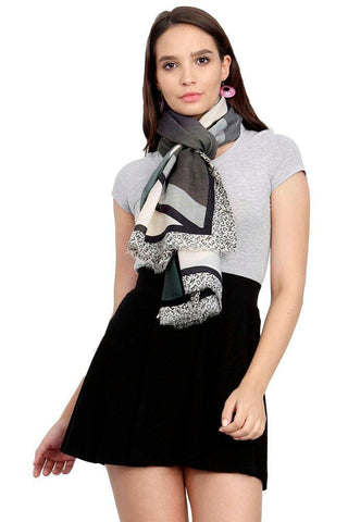 FabSeasons Green Cotton Viscose Abstract Printed Soft & Stylish Scarf