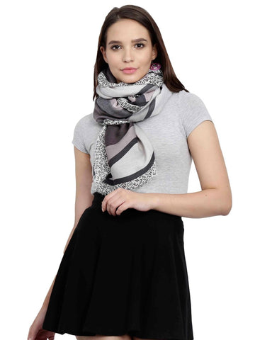 FabSeasons Grey Cotton Viscose Abstract Printed Soft & Stylish Scarf