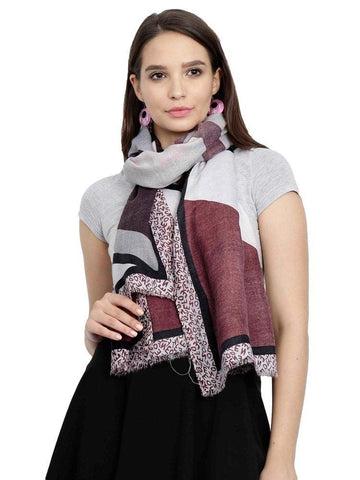 FabSeasons Peach Cotton Viscose Abstract Printed Soft & Stylish Scarf