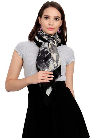 FabSeasons Cotton Black Viscose Modern Printed Soft & Stylish Scarf