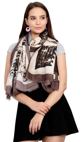 FabSeasons Cotton Brown Viscose Modern Printed Soft & Stylish Scarf