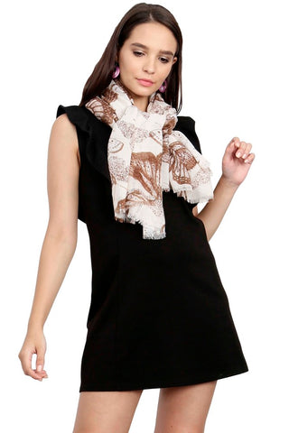FabSeasons Beign Viscose Butterfly Printed Soft & Stylish Scarf