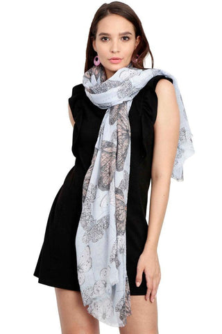 FabSeasons Blue Viscose Butterfly Printed Soft & Stylish Scarf