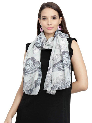FabSeasons Light Green Viscose Butterfly Printed Soft & Stylish Scarf