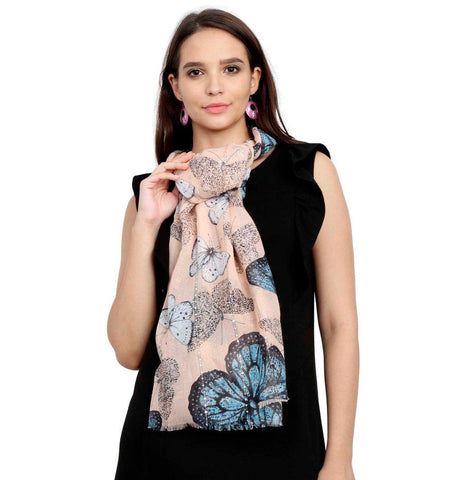 FabSeasons Orange Viscose Butterfly Printed Soft & Stylish Scarf